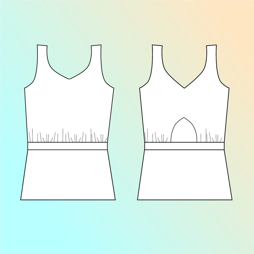 Line Drawing: Rosalee Jersey Top Sewing Pattern