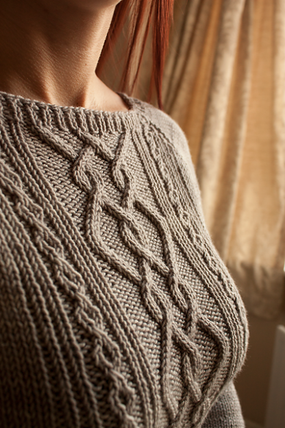 Cora Sweater Knitting Pattern - Close Up